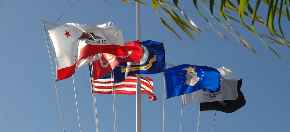 Various flags on our OCC pirate flag post