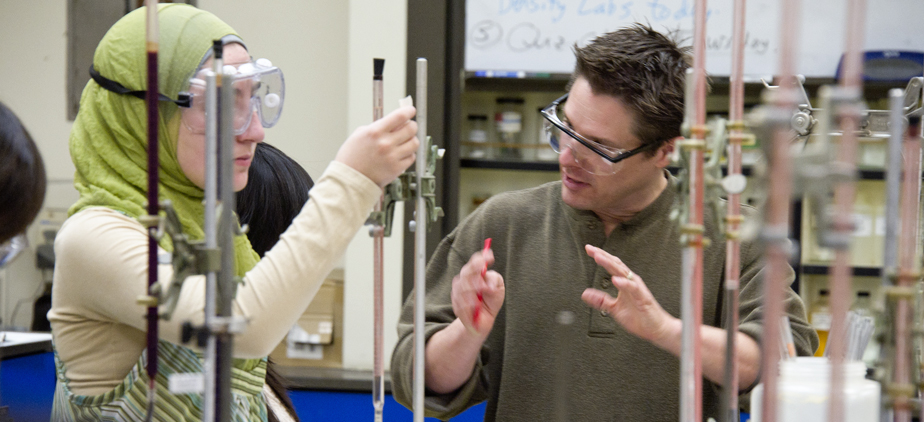 Faculty and student in a chemistry lab
