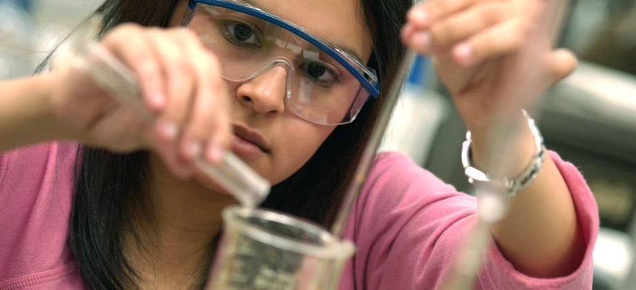 Student working in chemistry lab