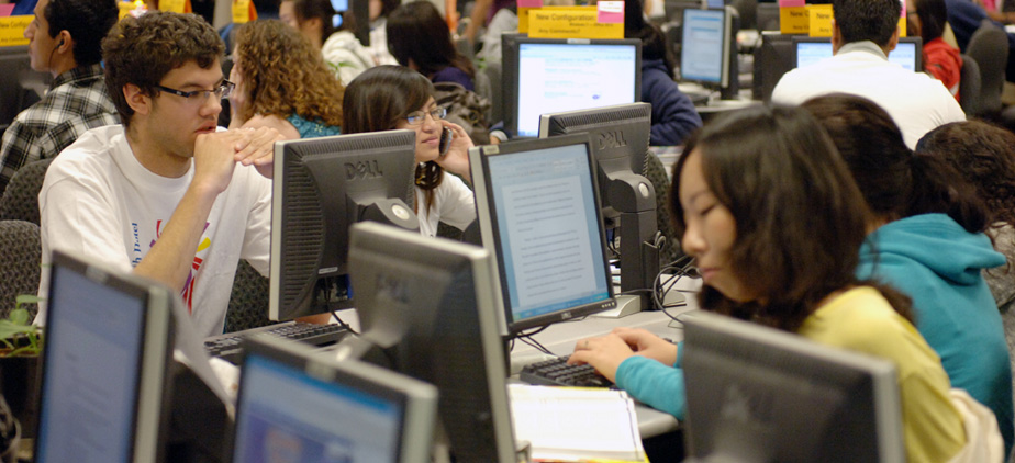 Students studying in the Computing Center