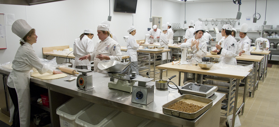 Culinary Instructor and students in classroom