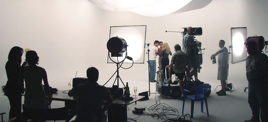 Students working at a photoshoot