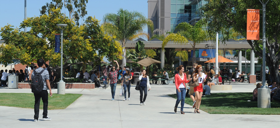 Students walking in the quad