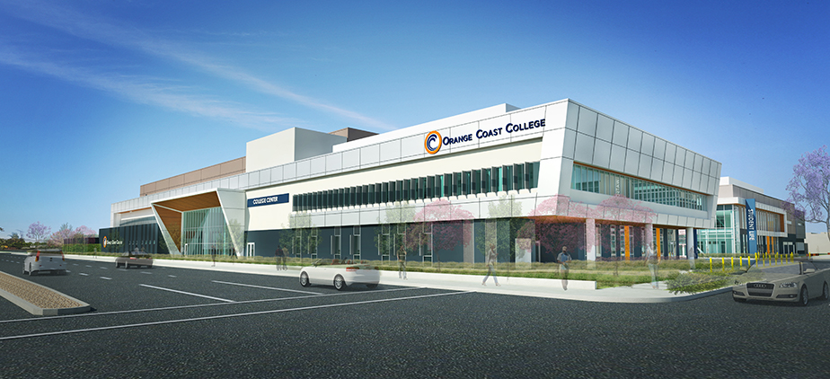 Graphic render of the exterior of Student Life and College Center Buildings from Fairview Road