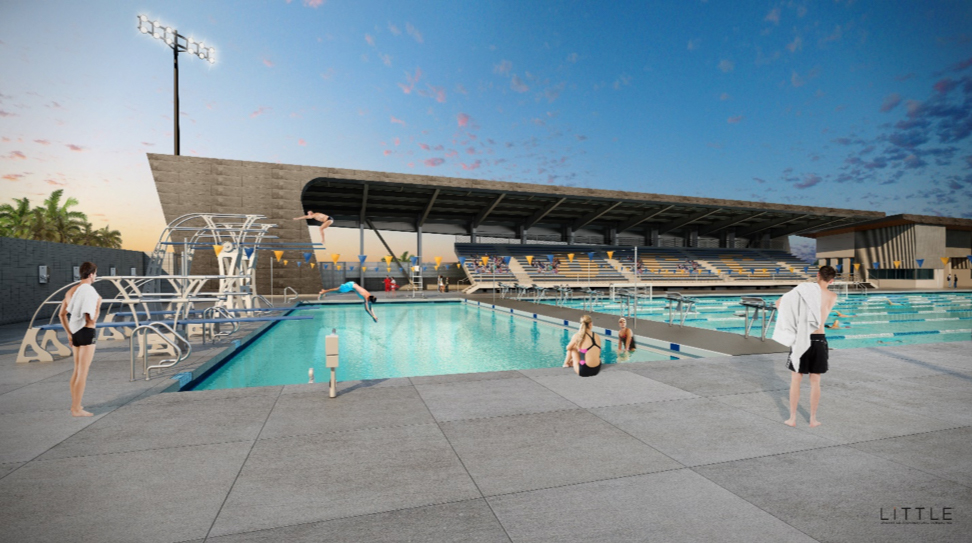 Aquatics Pools with students lounging and swimming