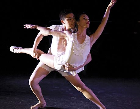 Male and female ballet dancer perform in a theater