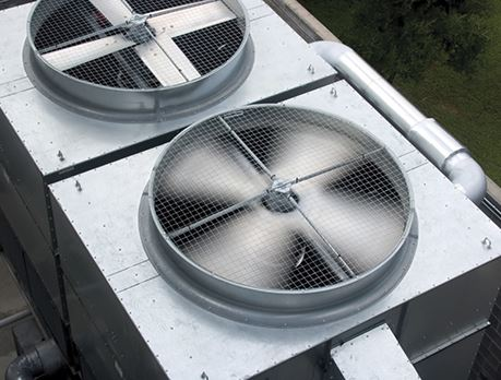 Two HVAC systems with fans located outside
