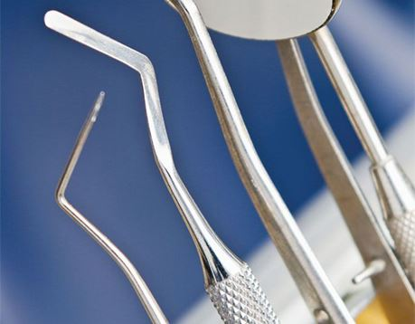 Close up view of dental tools