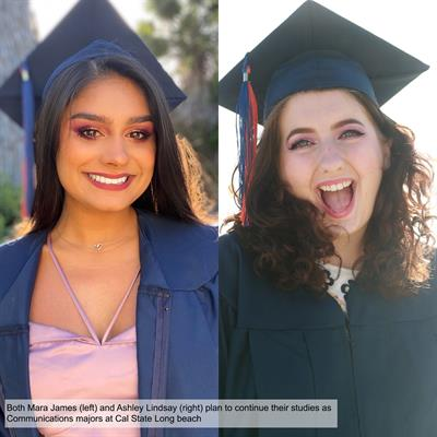 photo of mara james and ashley lindsay wearing their caps and gowns