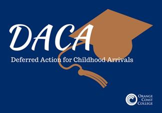 DACA text with orange graduation cap in background