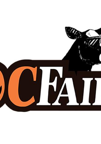 Orange County Fair poster that says Farm Fresh Fun and features a cow wearing sunglasses and licking an ice cream cone