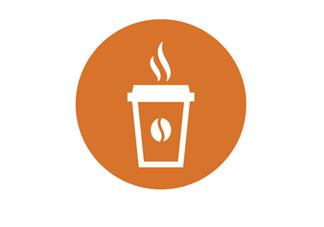 orange circle with white coffee cup icon in middle