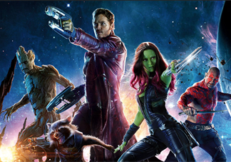 guardians of the galaxy characters holding weapons and looking fierce
